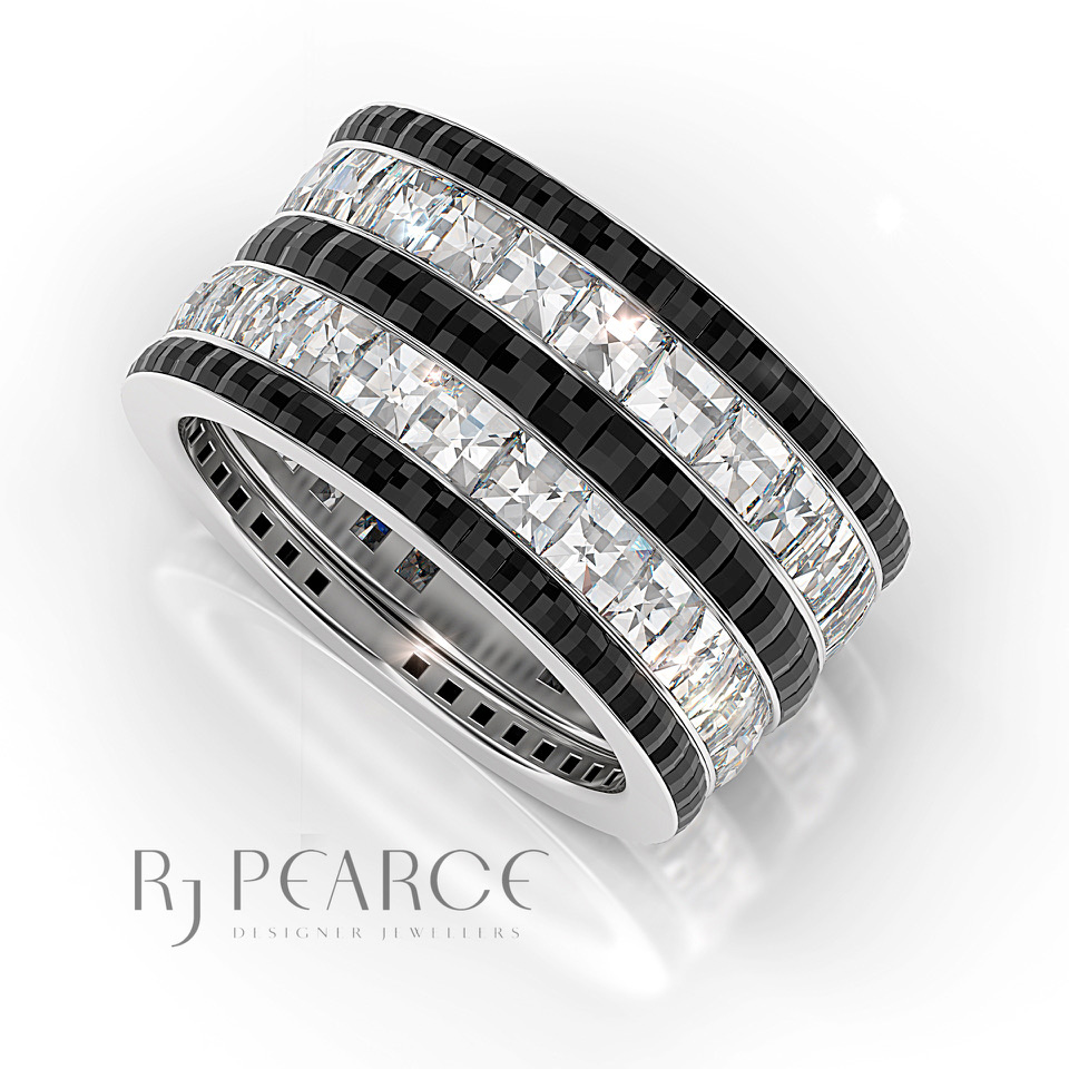 Gallery - Diamonds - Black & White Bands