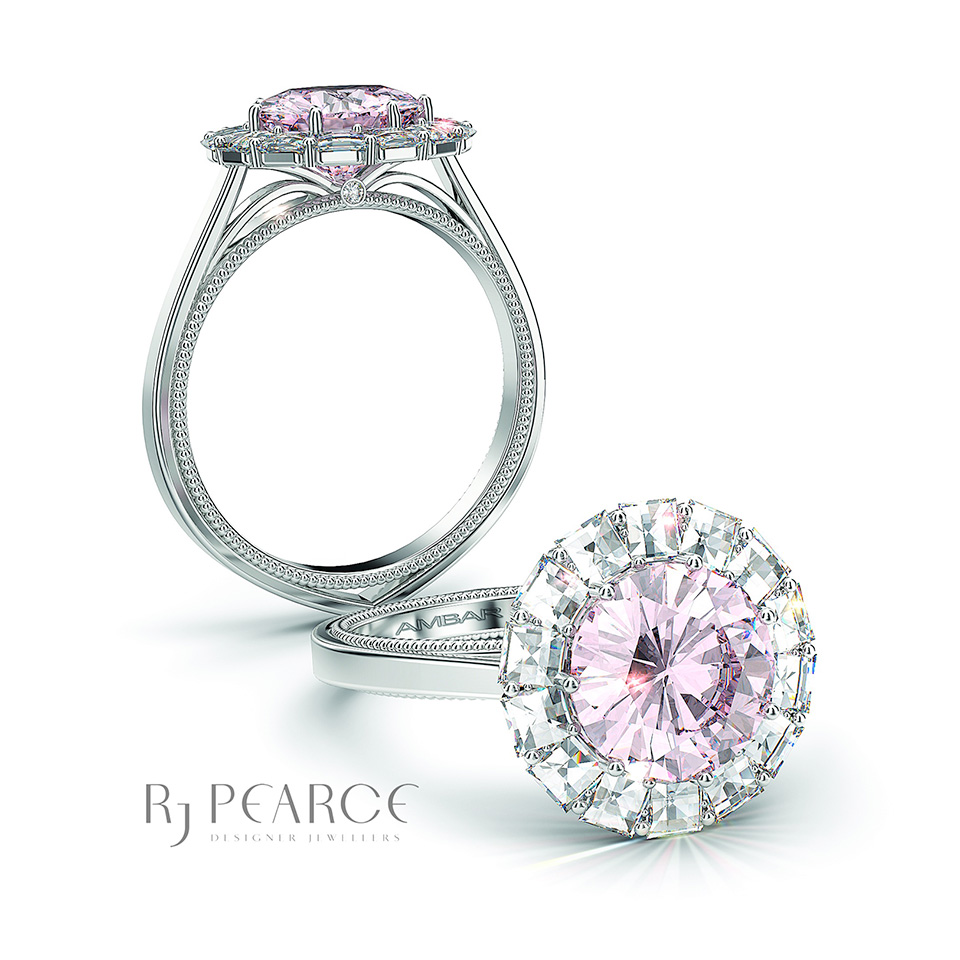 Gallery - Bridal - Ring of Fire with pink stone